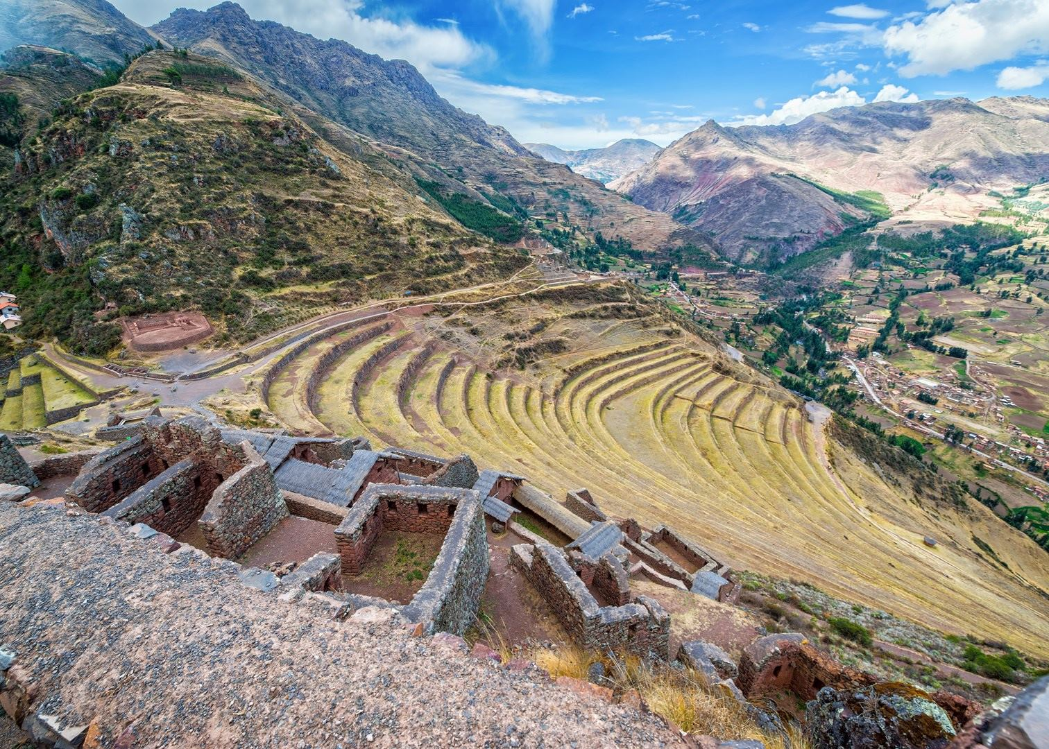 Pisac market and ruins peru audley travel for Terrace farming definition