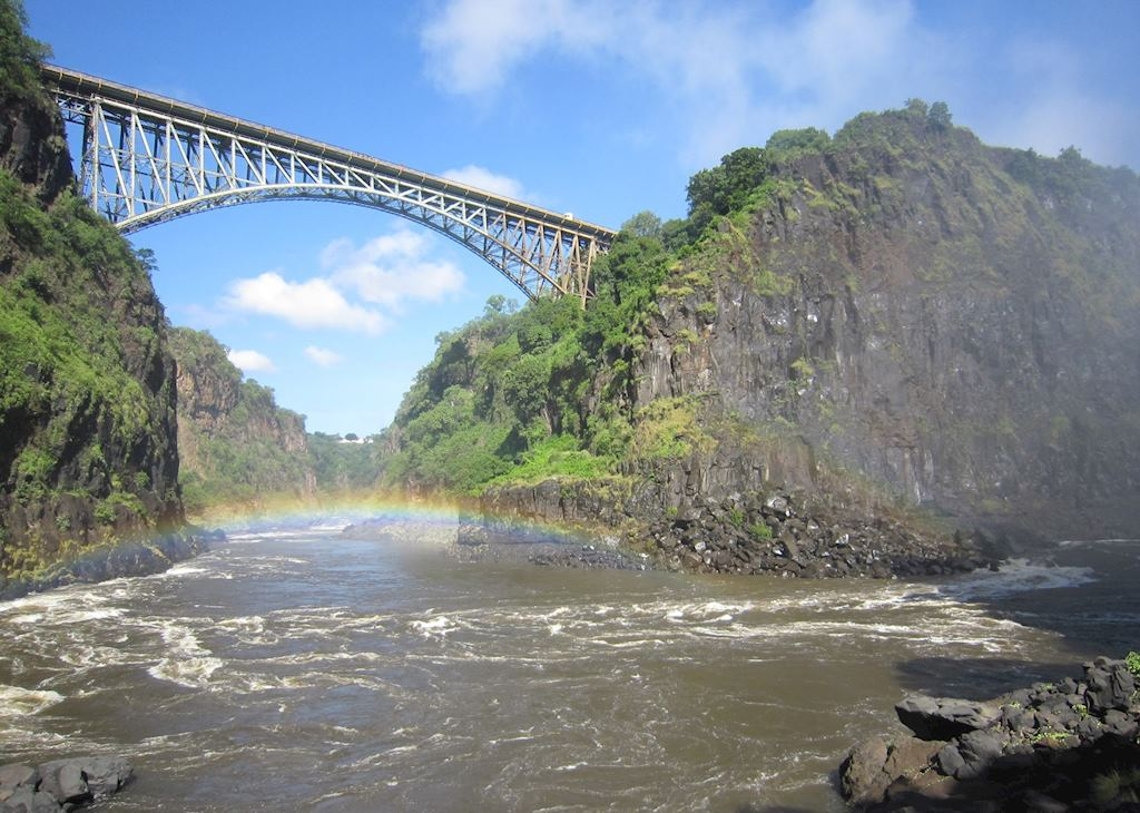 Victoria Falls bridge from the 'Boiling Pot'