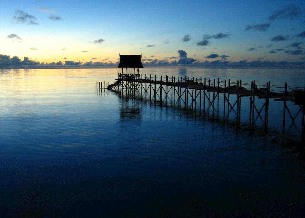 Pier at sunrise, Kapalai Island, Malaysian Borneo