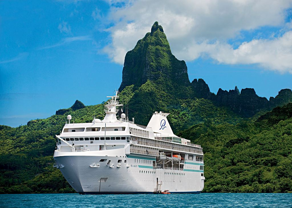 Paul Gauguin Cruise Ship at Bora Bora, Tahiti