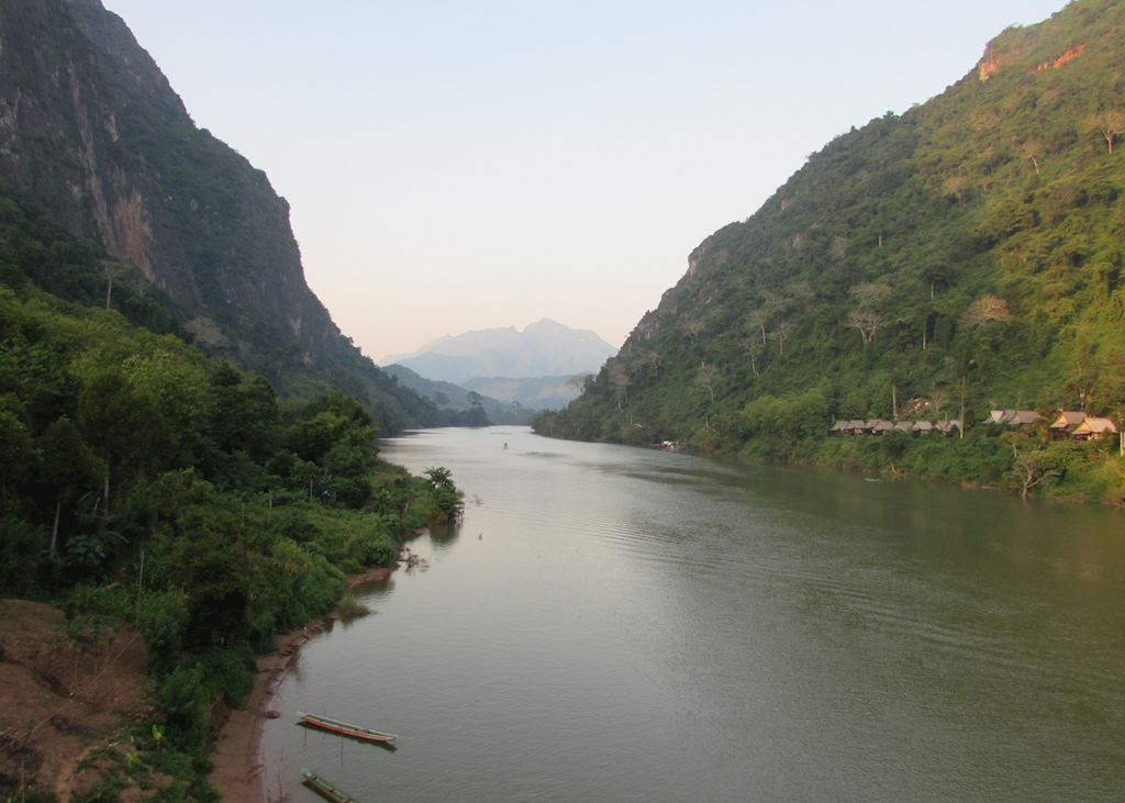 View from the bridge in Nong Khiaw up the Nam Ou River