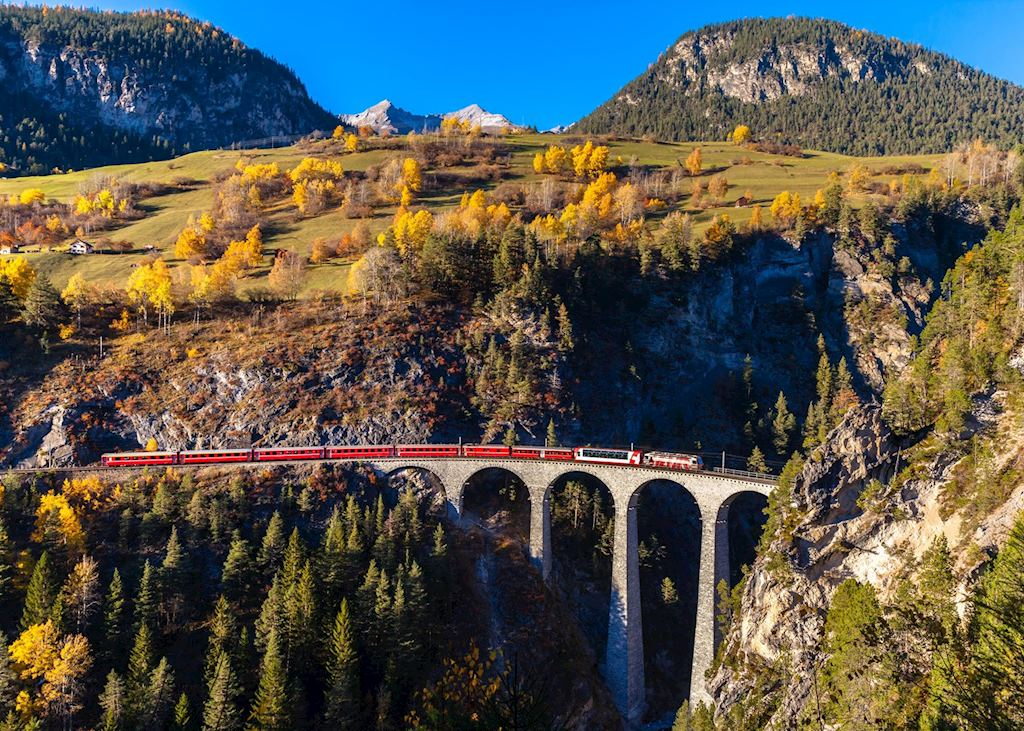 The train passes over the Landwasser viaduct