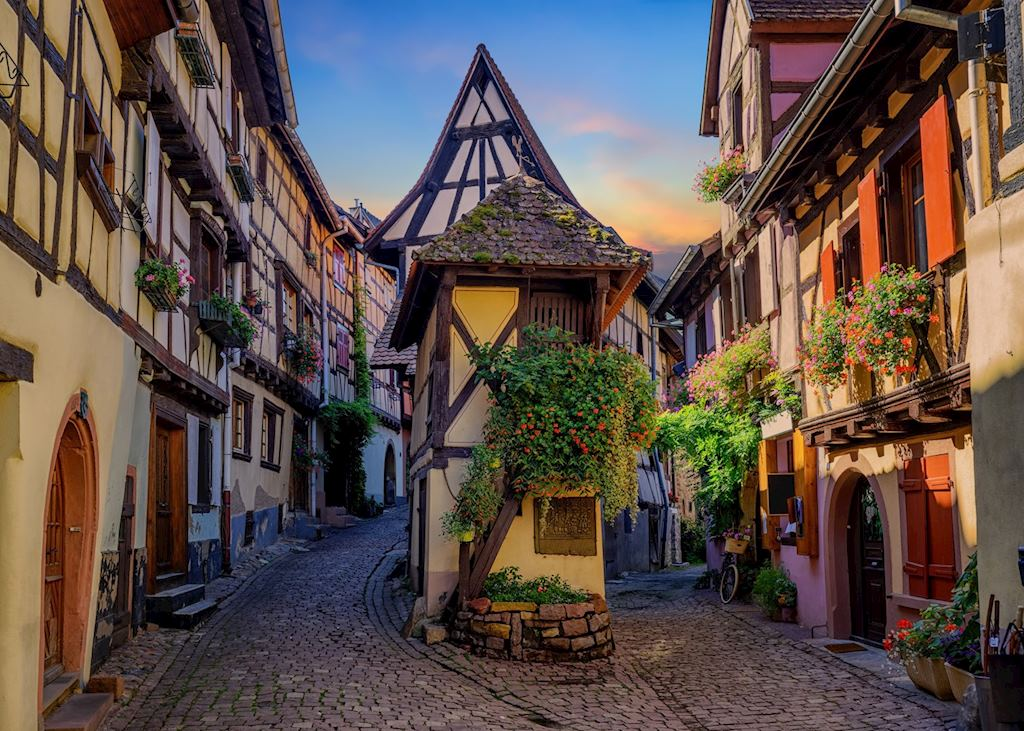 Colorful half-timbered houses in Alsace