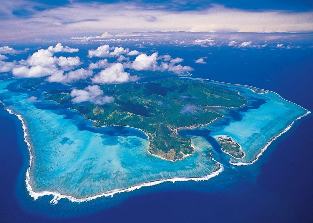 Aerial view of Huahine, French Polynesia