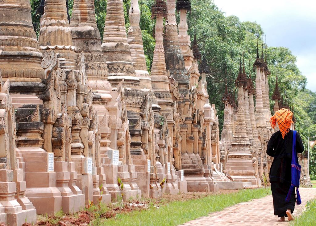 A Pa-O guide walks through the Kakku temple complex