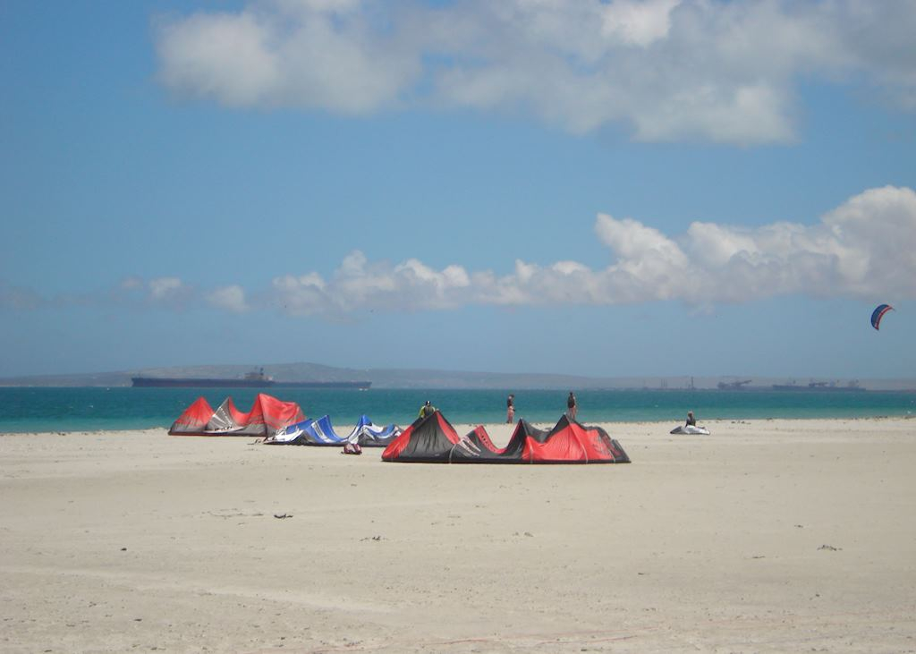 Windsurfers preparing at Langebaan