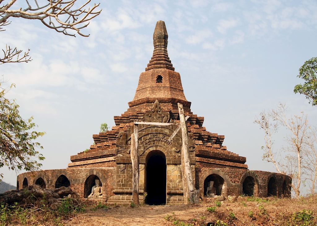 One of the many hill-top temples in Mrauk U