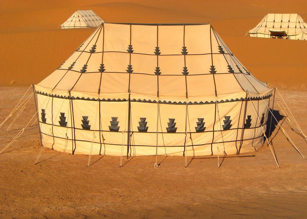 Standard tent in Dunes Camp, Near Zaouia-Sidi-Abd-en-Nebi, Zagora