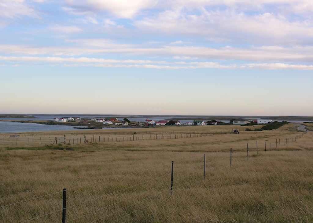 Goose Green as seen from Darwin, The Falkland Islands