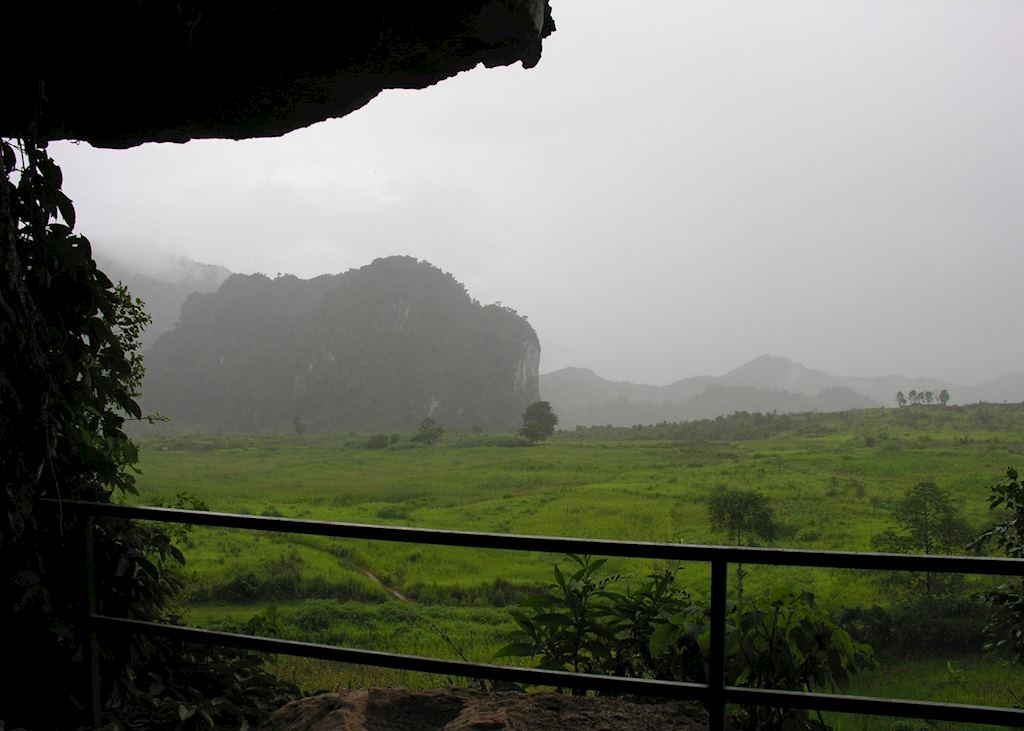 View from gun placement cave, Vieng Xai