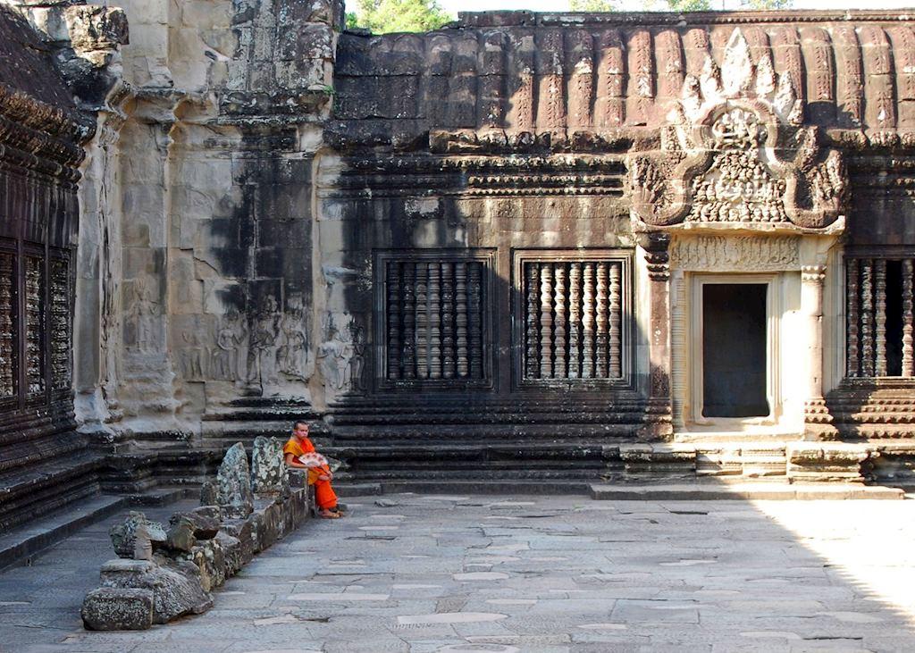 Monk gathering thoughts, Angkor Wat