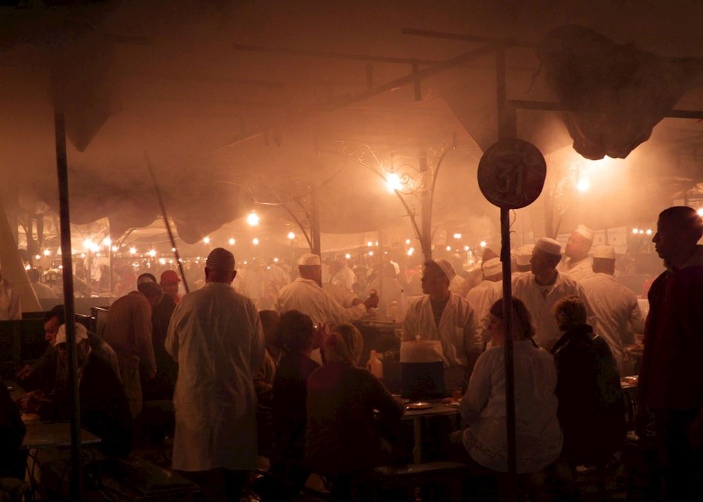 Food stalls in the atmospheric Djemma El Fna, Marrakesh, Morocco