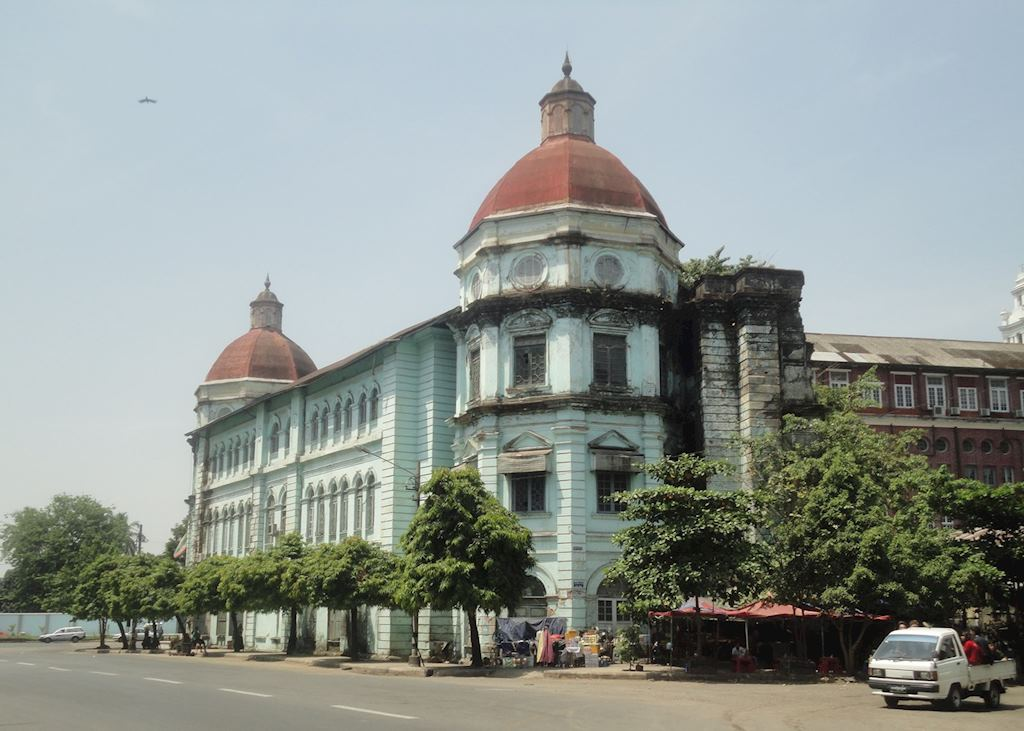 Grand colonial buildings, Downtown Yangon, Burma (Myanmar)