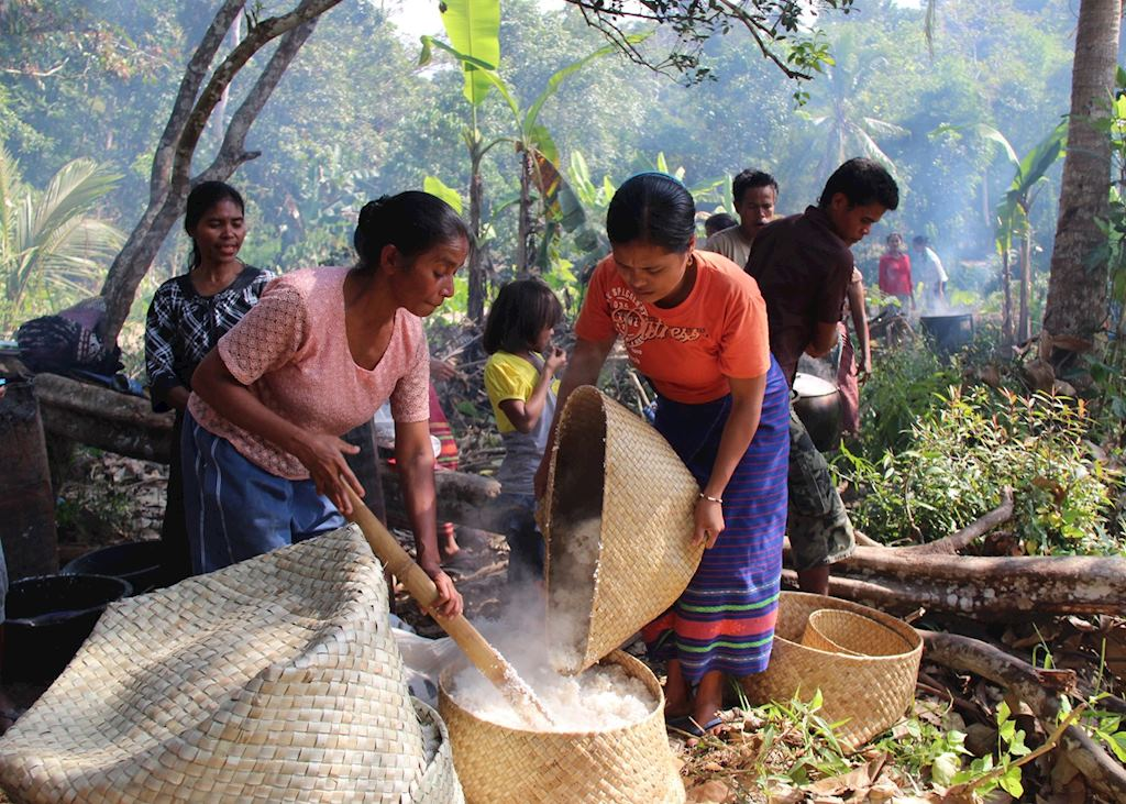 Preparation of Village Feast at a New House Ceremony in Western Sumba