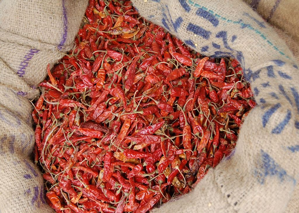 Dried chillies at a market stall