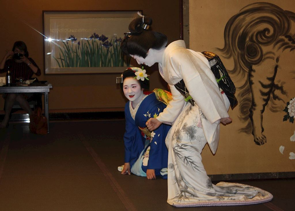A Maiko and a Geiko during the Geisha Night at the Gion Hatanaka