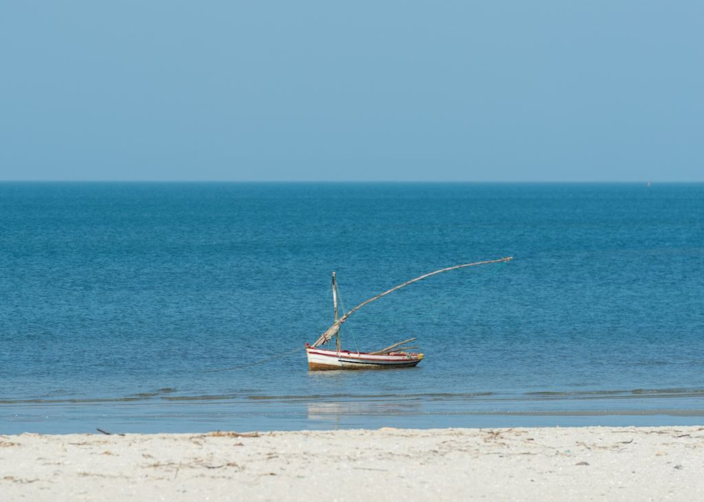 Dhow off Mozambique coast near Ponta Mamoli