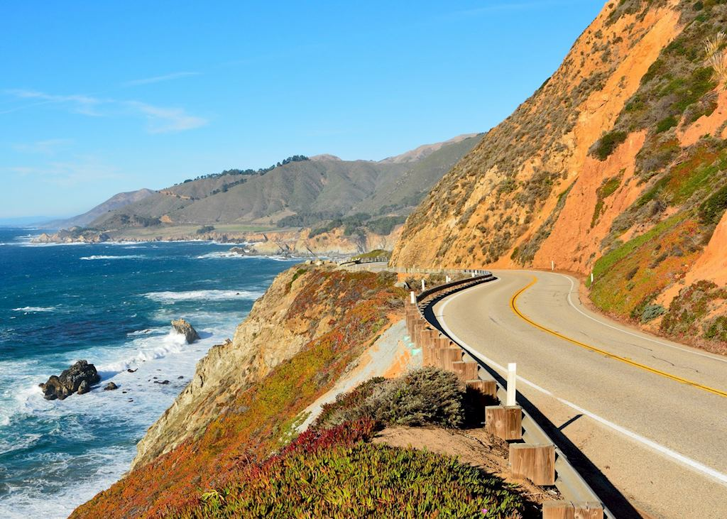 Highway 1 running along Paific coast in Big Sur state parks in California