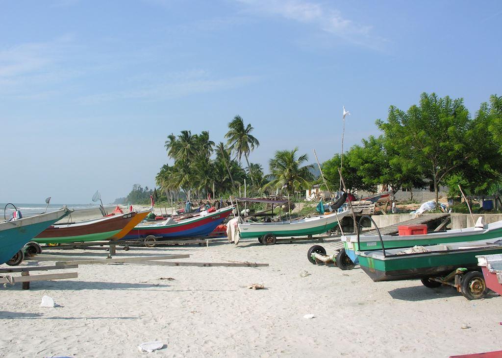 Fishing Boats and Beach near Kuala Terengganu, Malaysia