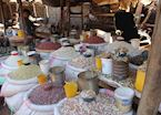 A colourful market stall in Livingstone