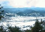 Jakar township on a snowy morning, Bumthang Valley, Bhutan