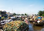 Floating market in the Mekong Delta, Vietnam