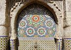 Traditional mosaics at a fountain in Fez