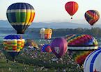 Hot air balloons over the Adirondack Mountains, New York State