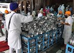 Volunteers stacking thali plates at the Golden Temple, Amritsar