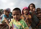 Children from the Moken village, in the Mergui Archipelago