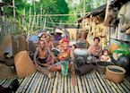Iban tribe at their longhouse, Lemanak River, Sarawak