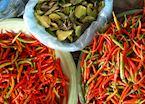 Chillis and Kaffir Lime Leaves; Phonsavan Market, Laos