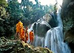 Monks at Kuang Si Falls, Luang Prabang