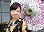 Japanese lady in summer kimono