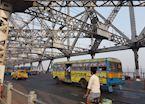 Morning traffic on the Howrah Bridge