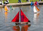 Miniature sailboats at a park, Paris