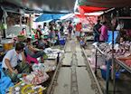 Market on the railway tracks, Amphawa