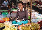 A market vendor in Siem Reap