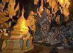 Golden pagoda and Buddha in Pindaya cave, Pindaya