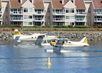Seaplanes cross paths in Victoria, Canada