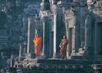 Monks in the ruins of Angkor Wat, Siem Reap