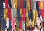 Newly dyed wool hanging out to dry