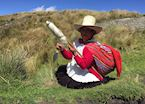 Local lady spinning wool, Cumbemayo, Cajamarca