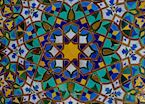 The intricate mosaics featured at the Hassan II Mosque