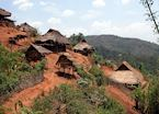The Ann village near Kengtung sits happily on the hillside, Burma (Myanmar)