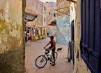 Boy cycling in the Medina