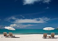 The beach and sun loungers