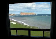 View of the Rocher Percé from the Hotel Riotel