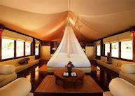 Interior of a tent, Amanwana, Moyo island