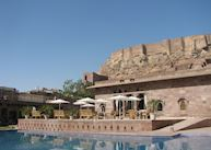 The swimming pool and the restaurant at Raas, Jodhpur